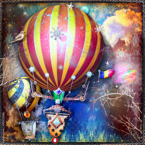 Recess Fitting Imagination Flight of steanpunk hot air balloons in the night sky with stars and snowflakes.
