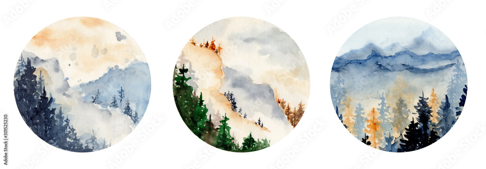 Fototapeta watercolor landscape with pine and fir trees and mountains abstract nature background