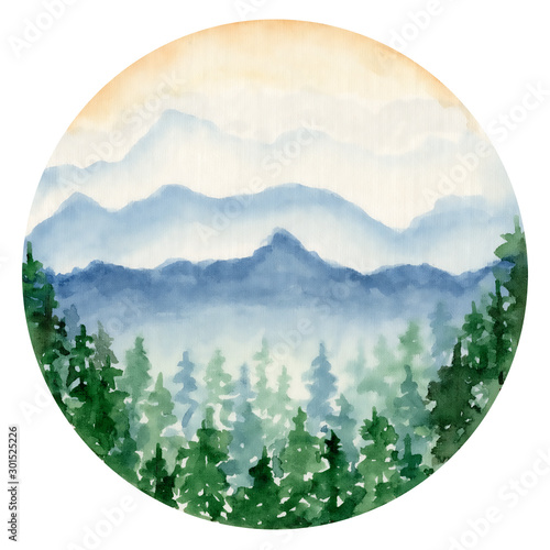 Garden Poster White watercolor landscape with pine and fir trees and mountains abstract nature background
