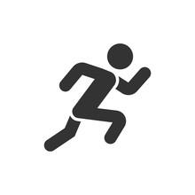 Run People Icon In Flat Style....