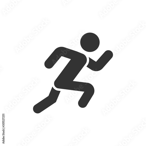 Foto Run people icon in flat style