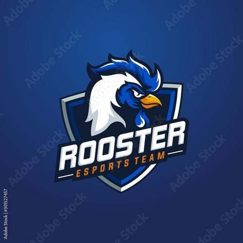 Fotografie, Tablou  Rooster mascot sport logo design
