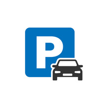 Car Parking Icon In Flat Style...