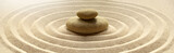 Fototapeta Kamienie - zen garden meditation stone background with stones and lines in sand for relaxation balance and harmony spirituality or spa wellness