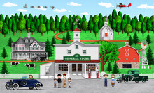Illustration Of An Old American City With A General Store Created In 3d Rendering