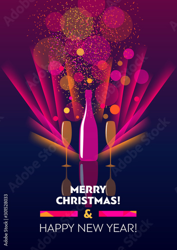 Vertical holiday bright color template with bottle and two glasses of champagne.