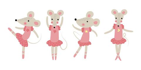 Cute cartoon ballerina rat. New year 2020. illustration.