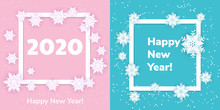 White Origami Snowflakes With Shadow On Blue And Pink Background. Paper Cut. Set Square Frame. Winter Illustration For Decorating For The New Year 2020 And Christmas.