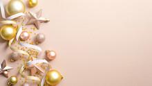 Top View Christmas Balls, Star...