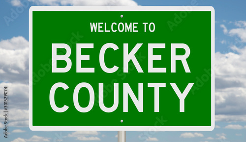 Photo Rendering of a green 3d highway sign for Becker County
