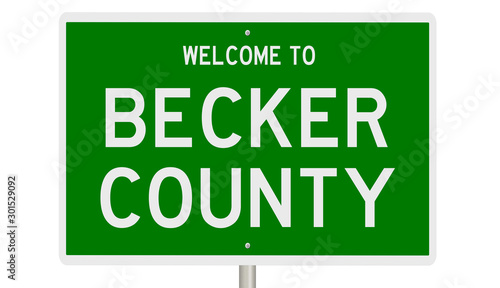 Rendering of a green 3d highway sign for Becker County Canvas Print