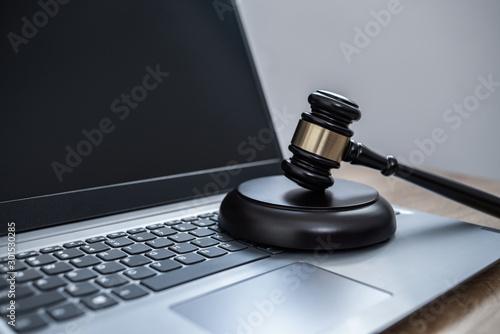 Photo Law on laptop, cybercrime concept illustration