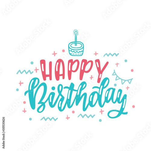 Fotomural  Happy Birthday hand drawn typography design