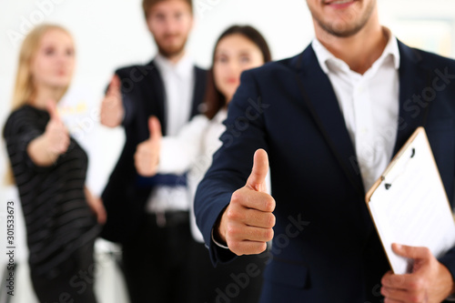 Fototapety, obrazy: Group of people show OK or confirm with thumb up