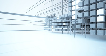 Abstract architectural white  interior  from an array of concrete cubes with large windows. 3D illustration and rendering.
