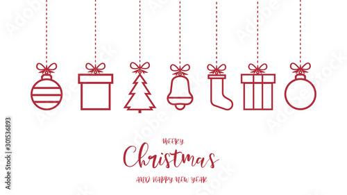 Vászonkép Świąteczne ozdoby dekoracje na białym tle