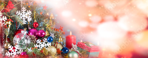 Fototapety, obrazy: christmas tree and ornament decorations background bokeh lights