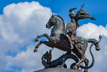 A Knight Statue On A Horse Kills A Dragon Moscow - Russia . Monument To George The Victorious