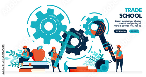 Photo Vector illustration of people learning to repair machines