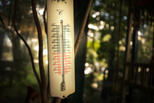 The Old Rustic Thermometer Is In The Garden And Measures The Temperature And Reminds Of The Past.