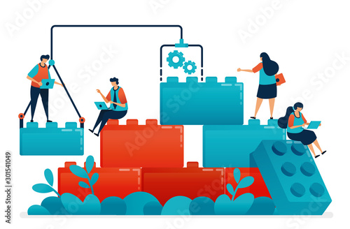 Compose lego games to teamwork and collaboration in work and business problem solving Poster Mural XXL