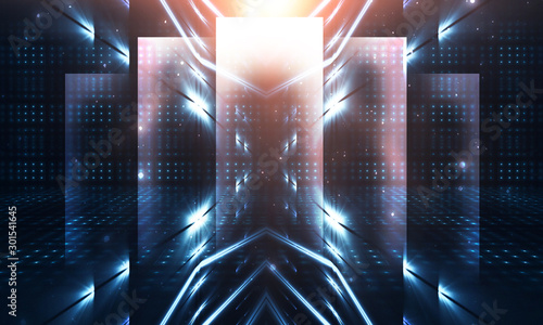 Valokuva  Dark abstract futuristic background