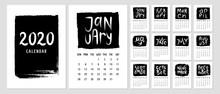Calendar 2020 Template With Handwritten Names Of Months.