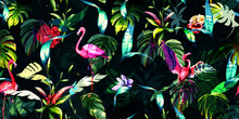 Wide Vintage Seamless Background Pattern. Tropical Leaves With Three Flamingos Around On Dark Green. Hand Drawn, Vector - Stock.