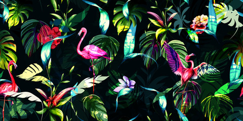 Panel Szklany Podświetlane Egzotyczne Wide vintage seamless background pattern. Tropical leaves with three flamingos around on dark green. Hand drawn, vector - stock.