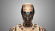 canvas print picture - Portrait of a detailed futuristic robot or yellow humanoid cyborg looking slightly downwards. Front view isolated on gray background. 3d render