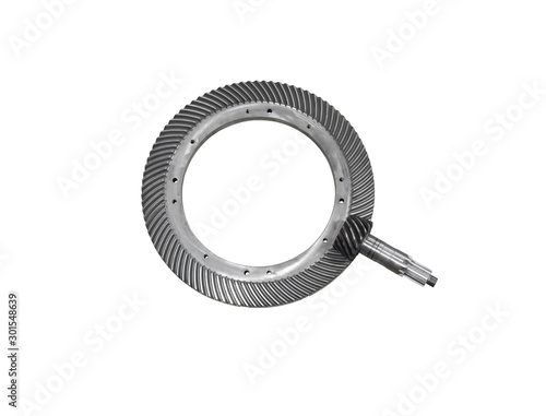 Fotografie, Tablou spiral bevel gear train isolated on white background