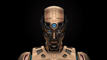 Portrait Of A Detailed Futuristic Robot Or Yellow Humanoid Cyborg Looking Slightly Downwards. Front View Isolated On Black Background. 3d Render