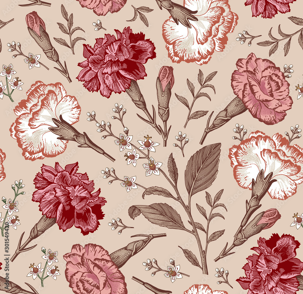 Fototapeta Seamless pattern. Beautiful fabric blooming realistic isolated flowers. Vintage background. Set Carnation clove Croton wildflowers. Wallpaper baroque. Drawing engraving. Vector victorian illustration