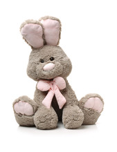 Old Rabbit Toy Isolated On Woo...
