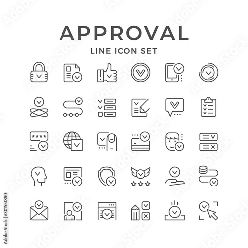 Set line icons of approval Wallpaper Mural
