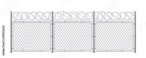 Chain link fence with barbed wire Wallpaper Mural