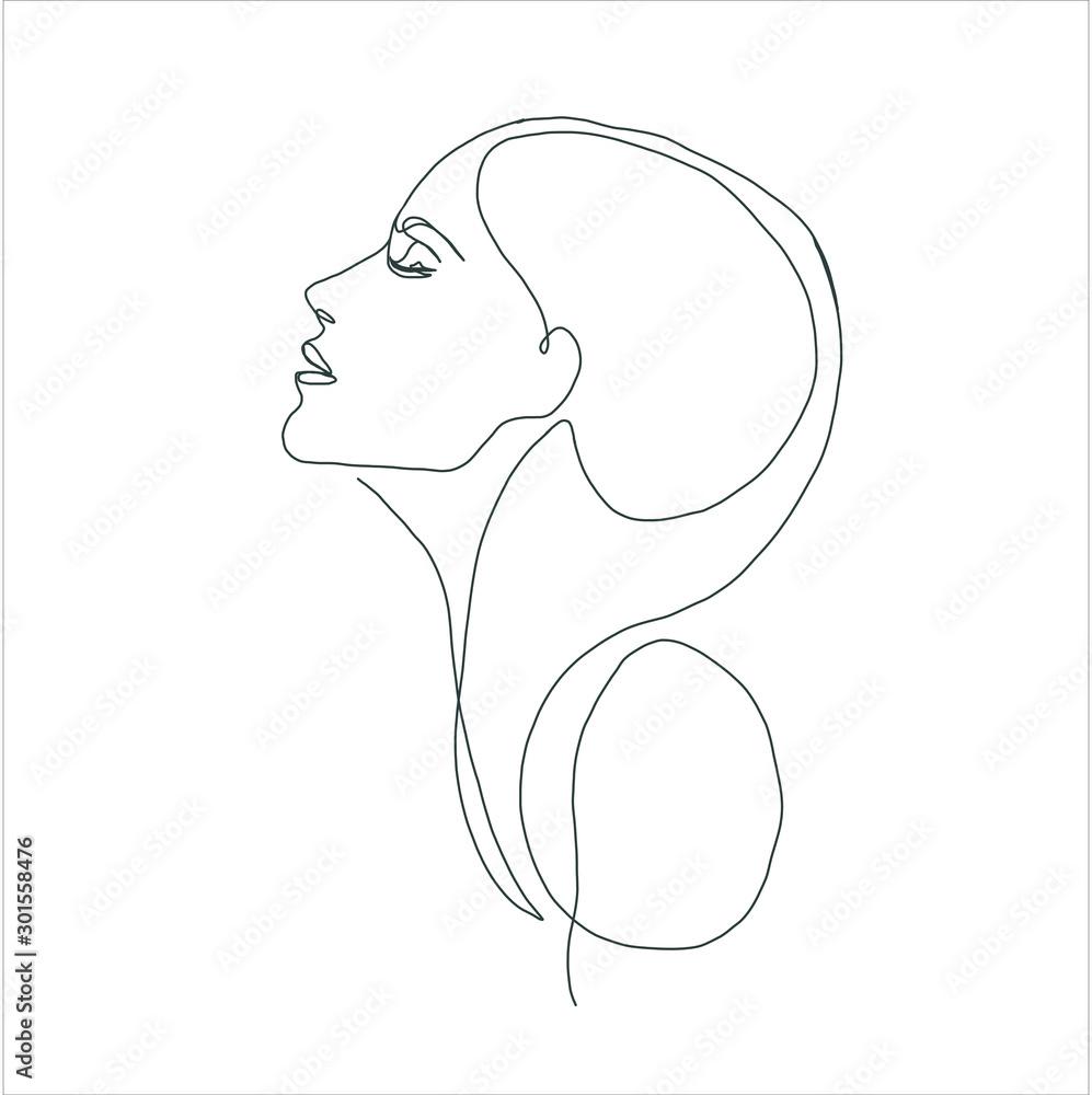 Fototapeta line drawing faces, fashion concept, woman beauty minimalist, vector illustration for t-shirt, slogan design print graphics style