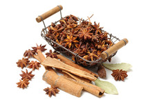 Star Anise And Cinnamon On Whi...