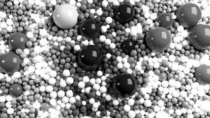 beautiful shiny balls of different colors and sizes completely cover the surface. Some spheres glow. 3d photorealistic render geometric reative holiday background of shiny balls