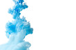 Abstract flowing liquid or blue ink in water on a white background. It looks like smoke or cloud. Or zero gravity.