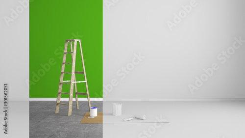 Fotografía abstract renovated living room with colored strip at the wall - 3D Illustration