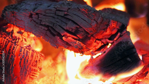 Obraz The fire with burning wood embers - fototapety do salonu