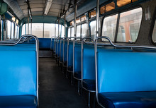 Old Blue Bus Seats In An Aband...