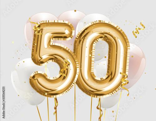 Cuadros en Lienzo Happy 50th birthday gold foil balloon greeting background