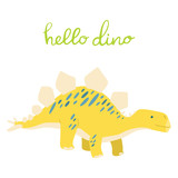 Fototapeta Dinusie - Flat cartoon style cute dinosaur. Vector illustration for card or poster, children room decoration, kids dino party designs, kids fashion. Lettering hello dino