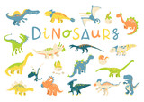 Fototapeta Dinusie - Big vector set of different dinosaurs in flat cartoon style. Best for card or poster, children room decoration, kids dino party designs, kids fashion.