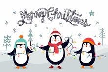 Christmas Card/poster/banner With Penguins