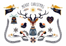 Christmas Poster/invitation/greeting Card With Seasonal Elements, Scandinavian Style