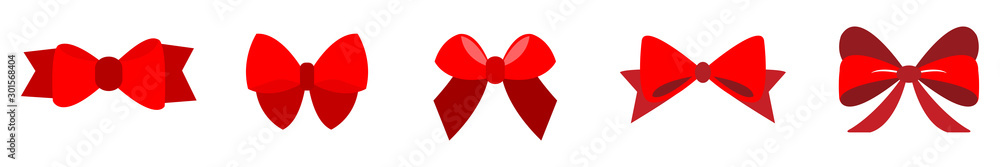 Fototapeta set of Red bow flat design isolated on white background