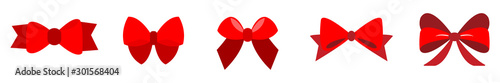 set of Red bow flat design isolated on white background Tapéta, Fotótapéta